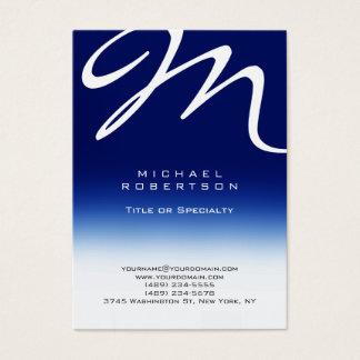 Chubby Modern Monogram White Blue Business Card