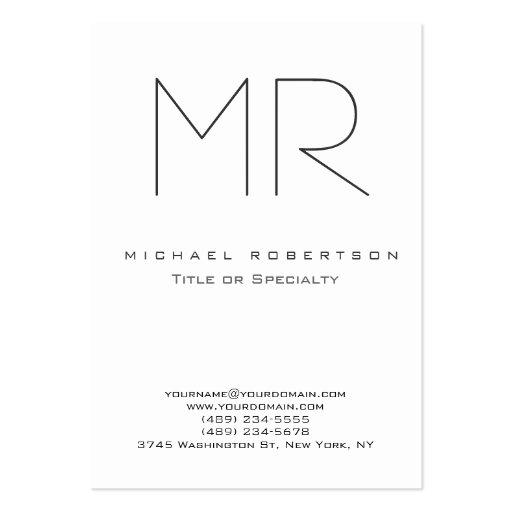 Chubby Modern Monogram White Clean Business Card