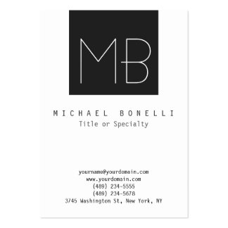 Chubby Monogram Dark Grey White Business Card