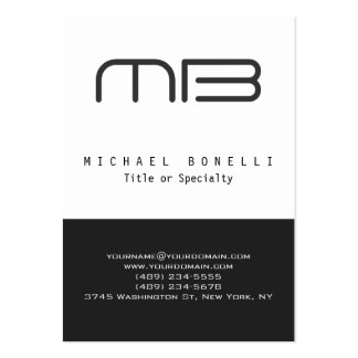 Chubby Monogram Grey White Clean Business Card