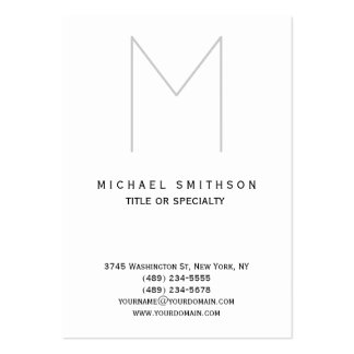 Chubby Monogram Grey White Simple Business Card