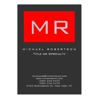 Chubby Monogram Red Gray Clean Business Card