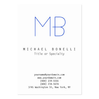 Chubby Monogram White Blue Clean Business Card
