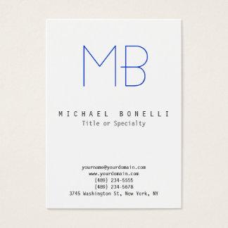 Chubby Monogram White Blue Clean Business Card