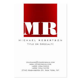Chubby Monogram White Dark Red Business Card
