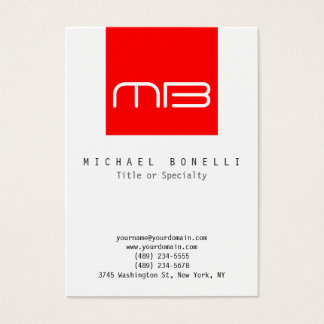 Chubby Monogram White Red Clean Business Card
