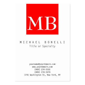 Chubby Monogram White Red Stripe Business Card