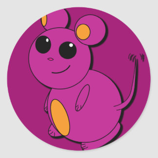 Chubby Purple Abstract Mouse Sticker
