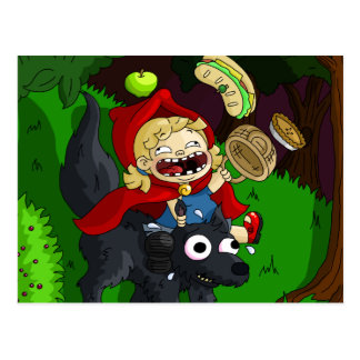 Chubby Red Riding Hood Postcard