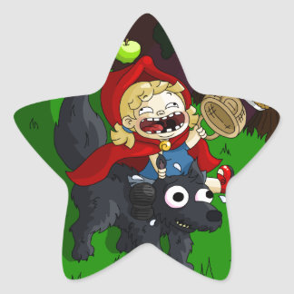 Chubby Red Riding Hood Star Sticker