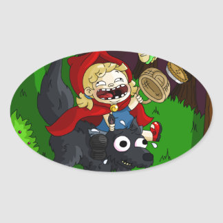Chubby Red Riding Hood Oval Stickers