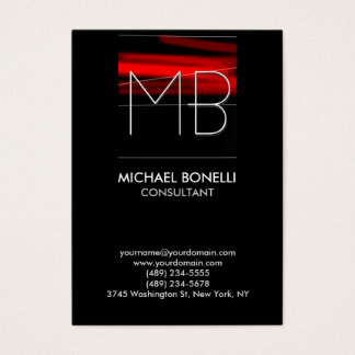 Chubby red stripe black background business card