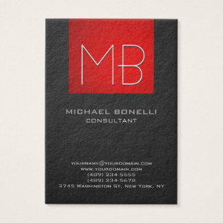 Chubby red stripe grey background business card