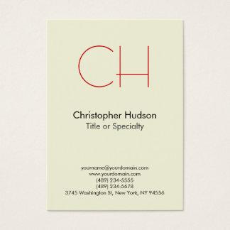 Chubby Red Trendy Modern Monogram Business Card