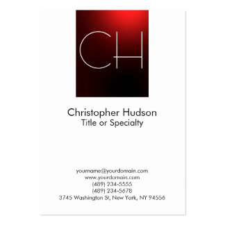 Chubby Red White Monogram Business Card