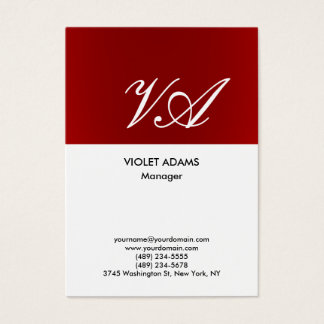 Chubby red white monogram professional modern business card