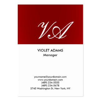 Chubby red white monogram professional modern large business card