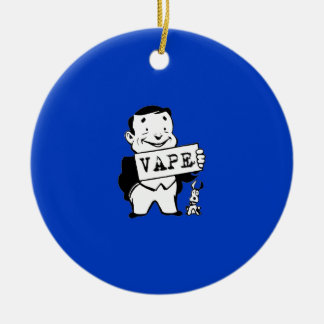 Chubby Retro Man Vape Blue Ceramic Ornament