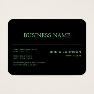 Chubby Round Corner Green Rich Black Business Card