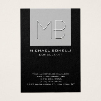 Chubby silver grey black background business card