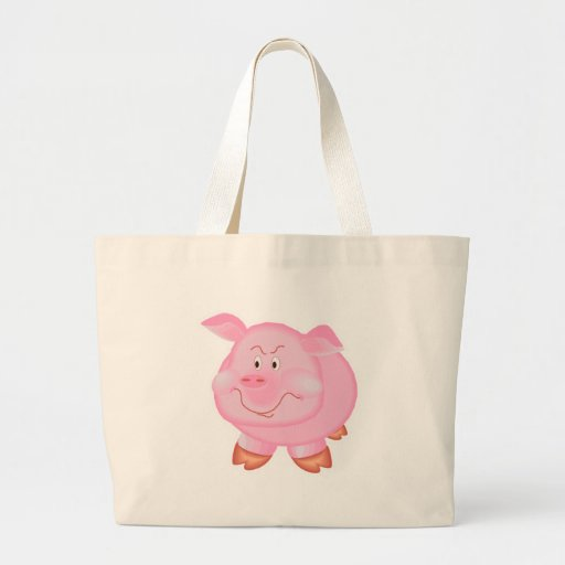 chubby smiling pig tote bags