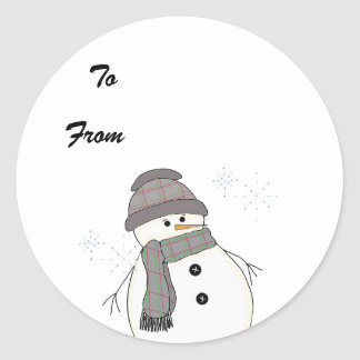 Chubby Snowman in Plaid Round Stickers