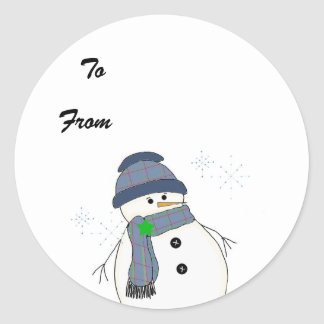 Chubby Snowman in Plaid Stickers