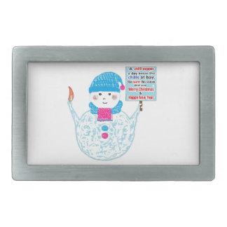 Chubby Snowman Rectangular Belt Buckle