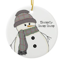 Chubby Snowman with Saying Ceramic Ornament