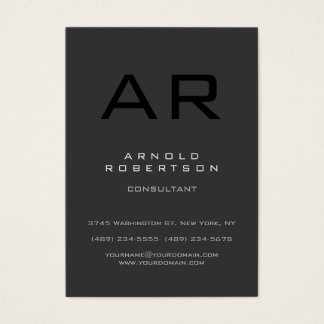 Chubby Style Black Gray Monogram Business Card
