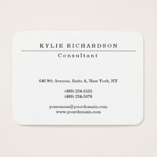 Chubby Stylish Classic White Professional Creator Business Card