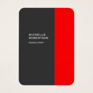 Chubby Stylish Gray Red Minimalist Modern Business Card