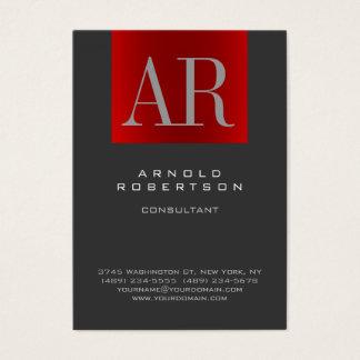 Chubby Stylish Gray Red Monogram Business Card