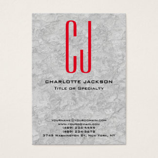 Chubby Stylish Red Monogram Grey Background Business Card