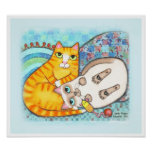 Chubby Tabby & Siamese Cat Cuddle Poster