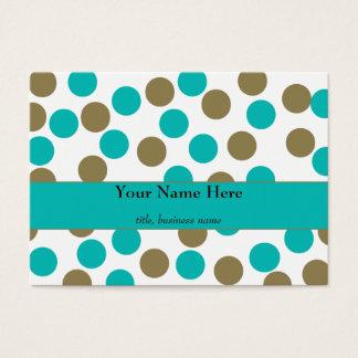 Chubby Teal Blue &Tan Polka Dot Business Card