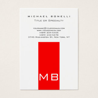 Chubby Trendy Monogram White Red Business Card