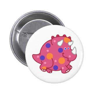 Chubby Triceratops Cartoon Dinosaur 2 Inch Round Button