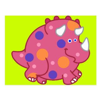 Chubby Triceratops Cartoon Dinosaur Postcard