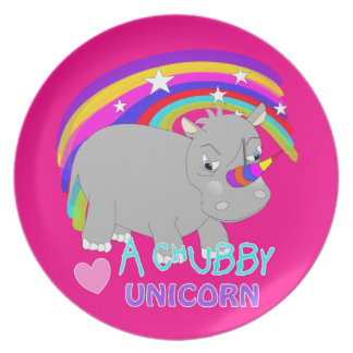 Chubby Unicorn Cute Rainbow Fantasy Fun Dinner Plate