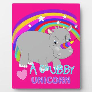 Chubby Unicorn Cute Rainbow Fantasy Fun Plaque
