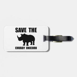 Chubby Unicorn Rhino Luggage Tag