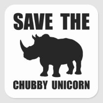 Chubby Unicorn Rhino Square Sticker
