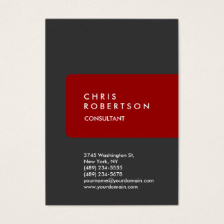 Chubby Vertical Gray Background Red Business Card