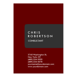Chubby Vertical Gray Red Minimalist Business Card