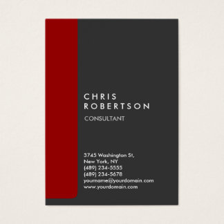 Chubby Vertical Gray Red Trendy Business Card