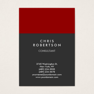 Chubby Vertical Red Gray Trendy Business Card