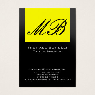 Chubby yellow gray black monogram business card