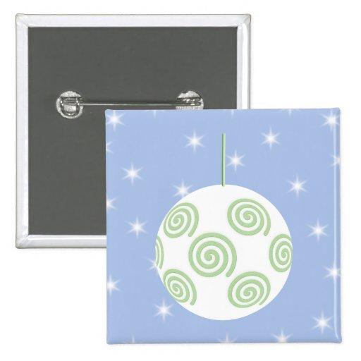 Chuchería blanca y verde del navidad. En azul estr Pins