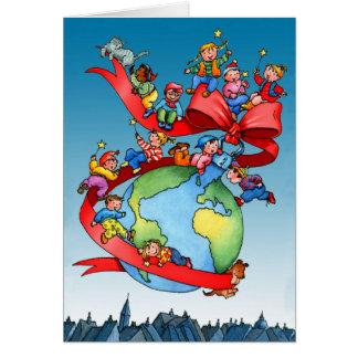 Chuchería del globo del navidad con los niños tarjeta de felicitación